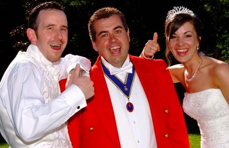 Essex wedding toastmaster and master of ceremonies with happy bride and groom